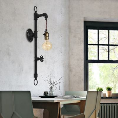 Rust Water Pipe 1 Light Wall Sconce Industrial Wrought Iron 25