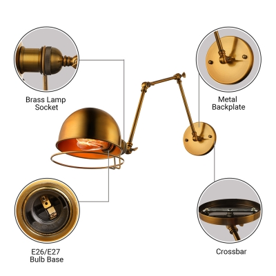 Industrial Style 1 Light Chic Adjustable Gold Finished LED Wall Sconce