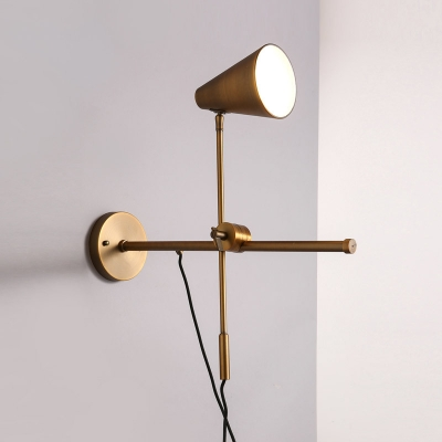 Exceptionnel Polished Bronze 1 Light Designer Adjustable LED Wall Light Task Lighting  With Cone Shade