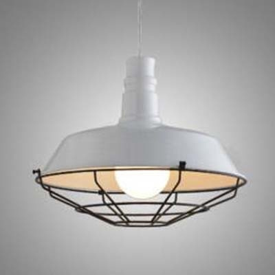 Pure White 10'' Wide 1 Light Industrial Pendant with Metal Cage