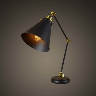 industrial style 1 light adjustable table lamp in black with cone shade