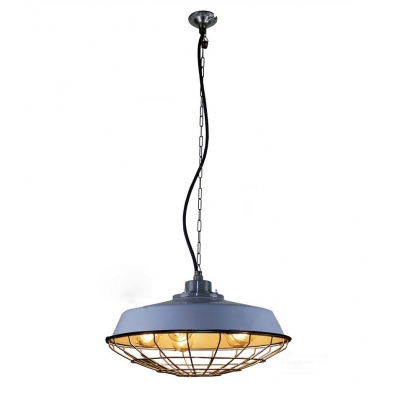 Light Blue Five Light Large Warehouse Shade Barn Industrial Style LED Pendant with Cage