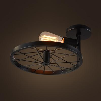 Country Style 12 Wide Single Light Wheel Shape Semi Flush Ceiling