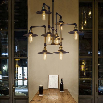 Industrial Style 8 Light Large Led Pendant Chandelier