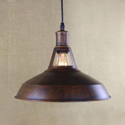 """Image of """"10""""""""/12''/15"""""""" Wide Small Single Light Barn Indoor LED Pendant in Antique Copper"""""""