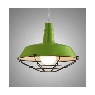 Adorable Pea Green 1 Light Small LED Pendant in Vintage Style