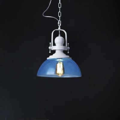 1 Light Bowl Hanging Light Modernism Ocean Blue Glass Shade Pendant Lamp in White Finish