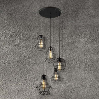 Cage Style 5 Light Multi Light Restaurant Pendant Lighting Fixture