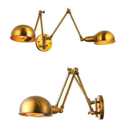 Grand Double Head Industrial Adjustable LED Wall Sconce in Gold Finish