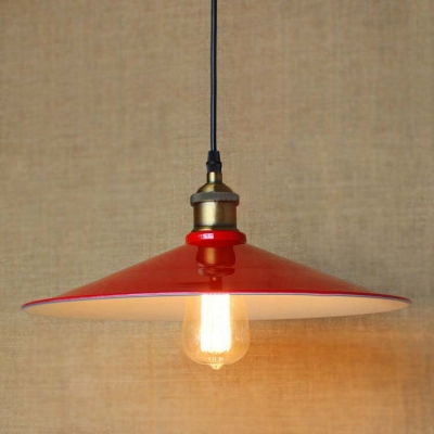 Red finished single light industrial saucer shade hanging led red finished single light industrial saucer shade hanging led pendant lamp aloadofball Choice Image