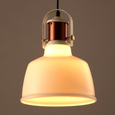 8'' Wide Small White Glass LED Hanging Pendant in Copper Finish