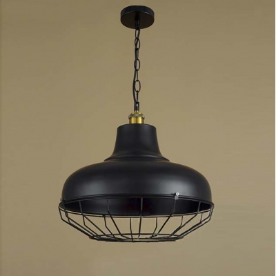 Black 1 Light Large Industrial LED Pendant Lighting with Wire Cage ...