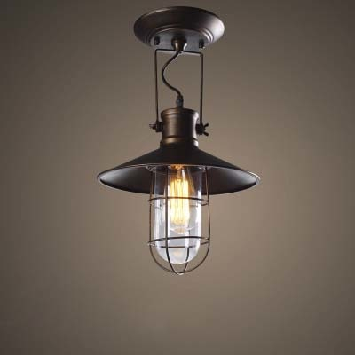 Old Copper 12\'\' Wide Single Light LED Close to Ceiling Light with ...