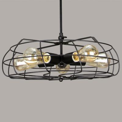 Retro 5 Light Hanging Fan Shape LED Ceiling Fixture in Black Finish