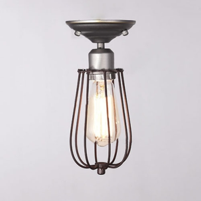 industrial style single light mini hallway semi flush ceiling light in cage style