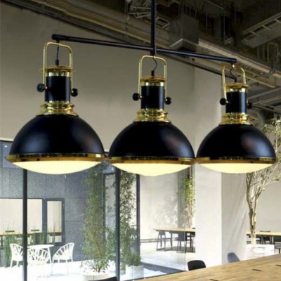 Three Light 1 Tier Large LED Island Chandelier in Black with Gold
