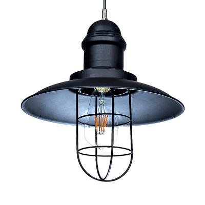 12'' Wide Black Finish Saucer Shade LED Hanging Pendant Light