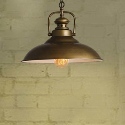 12'' Width Single Light LED Pendant Lighting with Metal Bowl Shade