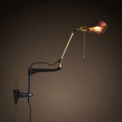 1 Light LED Wall Sconce with Small Rust Cage Shade