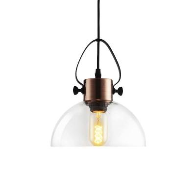 Dome/Globe Shade Suspension Loft Style Clear Glass 1 Light Small Pendant Light in Copper