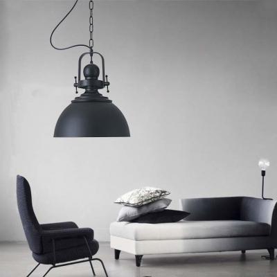 Loft 1 Light Industrial Single Lighting LED Pendant in Black