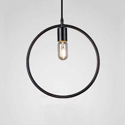 Black Geometric Circle LED Pendant Light Fixtures - Beautifulhalo.com