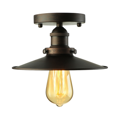 Rust Finish Semi Flush Ceiling Light in Shallow Round Shade Industrial Wrought Iron 1 Light Ceiling Lamp
