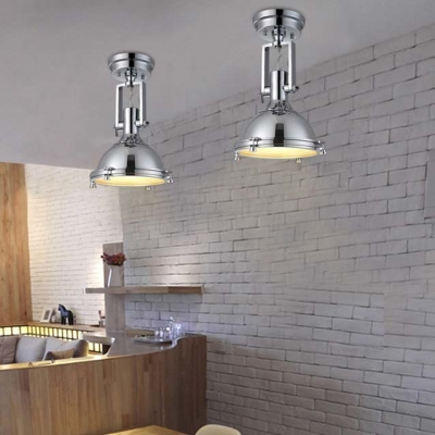 Chrome 1 Light LED Semi Flush Ceiling Light with Glass Diffuser