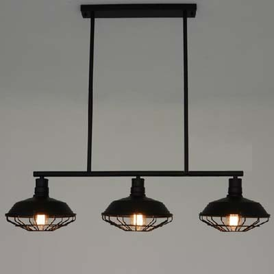 Three Light Wrought Iron Black Industrial Linear Island Pool Table Pendant  Light With Cage ...
