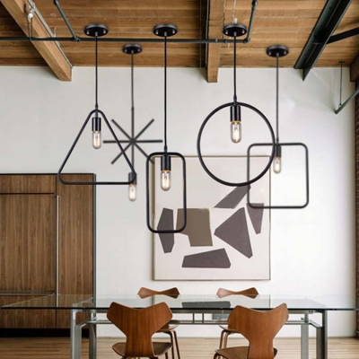 Black Geometric Circle Pendant Light Fixtures