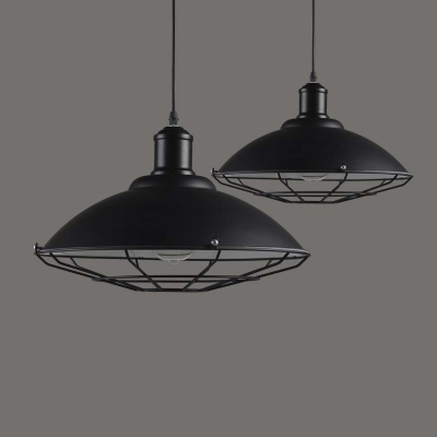 1 Light Black Industrial Led Pendant In Cage Style With