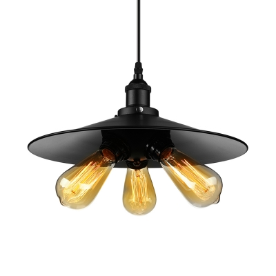 14 wide cheap industrial saucer shape led pendant with three light in black finish