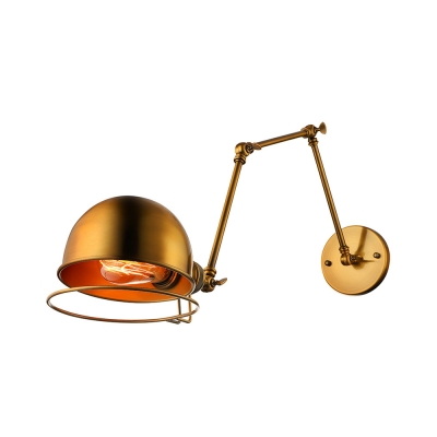 Gold Industrial Wall Lights : Industrial Style 1 Light Chic Adjustable Gold Finished Wall Sconce - Beautifulhalo.com