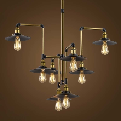 Industrial Style 8 Light Large LED Pendant Chandelier Commercial