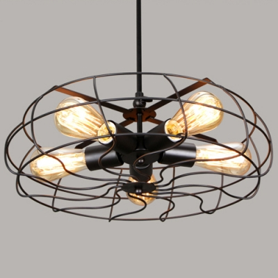 Retro 5 Light Hanging Fan Shape LED Ceiling Fixture in Black Finish