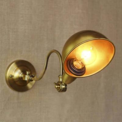 Vintage Gold Finished Single Light Swing Arm Adjustable LED Wall Lamp