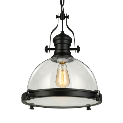 Clear Gl Dome Pendant Light In Black