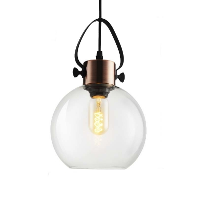 Globe Shade Suspension Light Retro Style Glass Shade 1 Light Indoor Lighting Fixture in Copper