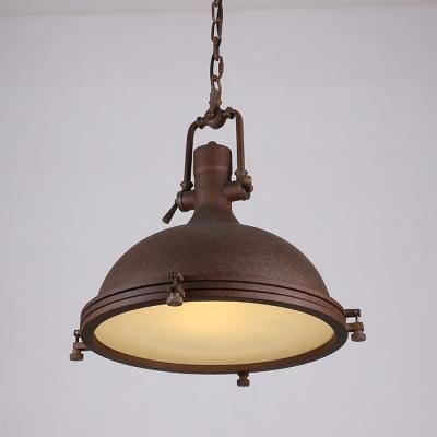 Large Bowl Shape Rust Single Light LED Pendant Lighting in Nautical Style