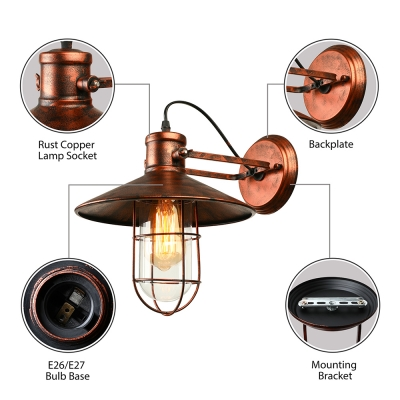 Single Light Antique Copper Nautical LED Wall Sconce With Cage - Single light bathroom sconce