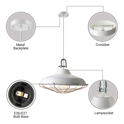 Fashionable 18'' Wide White Finish Single Light Cage LED Pendant Light