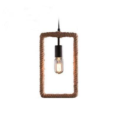 7 Inches Wide Rectangle Burlap LED Mini Pendant