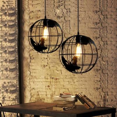 Chic Single Light Globe Shade Mini LED Hanging Pendant for Kids in Black