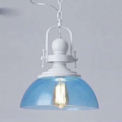 Cute ocean blue glass bowl shade 1 light industrial led pendant in white finish