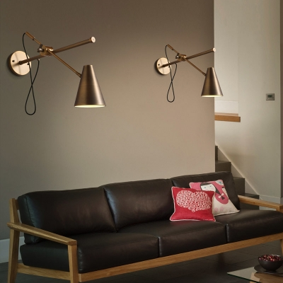 Polished bronze 1 light designer adjustable led wall light for Task lighting in interior design
