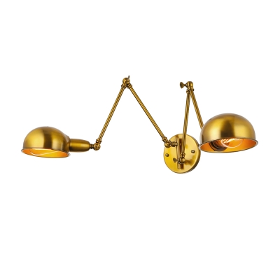 Gold Finish Wall Sconces : Grand Double Head Industrial Adjustable Wall Sconce in Gold Finish - Beautifulhalo.com