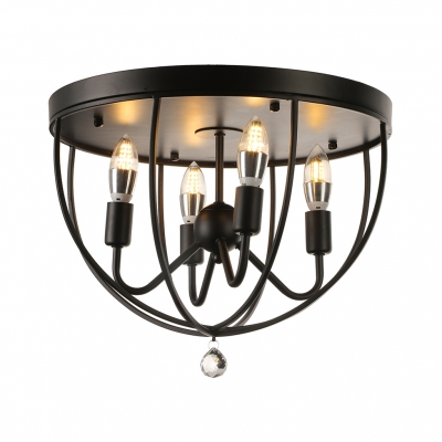 Country Style 16 Wide 4 Light Foyer Led Flush Mount Ceiling In Black