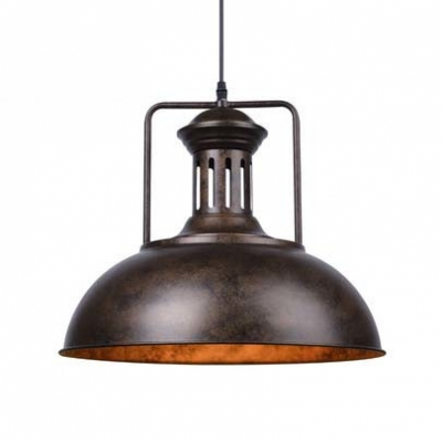 Rust/Gray Single Light Bowl Shape 16'' Wide LED Pendant Lamp