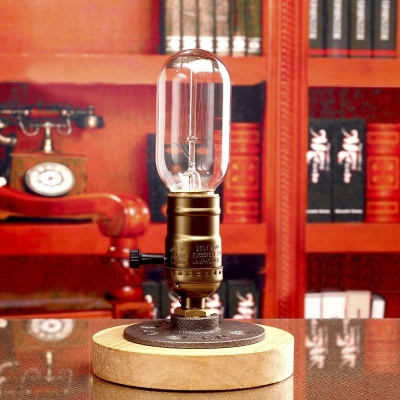 Five Inches Wide Single Light Wood Base LED Table Lamp