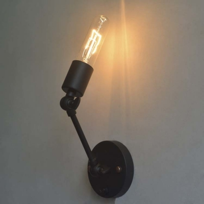 Simple Black One Light Wall Sconce Adjustable LED Wall Lighting